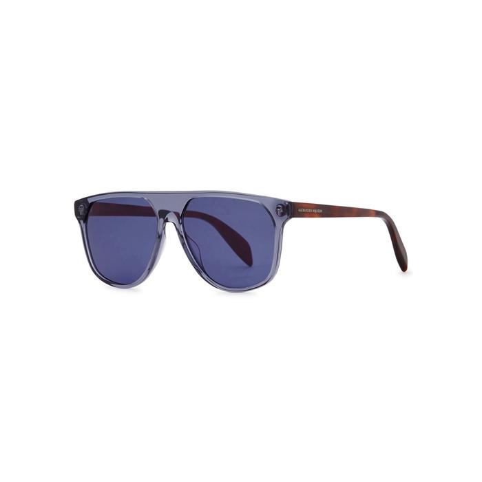 Alexander McQueen Purple Transparent Aviator-style Sunglasses