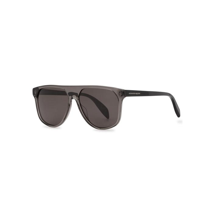 Alexander McQueen Grey Transparent Aviator-style Sunglasses