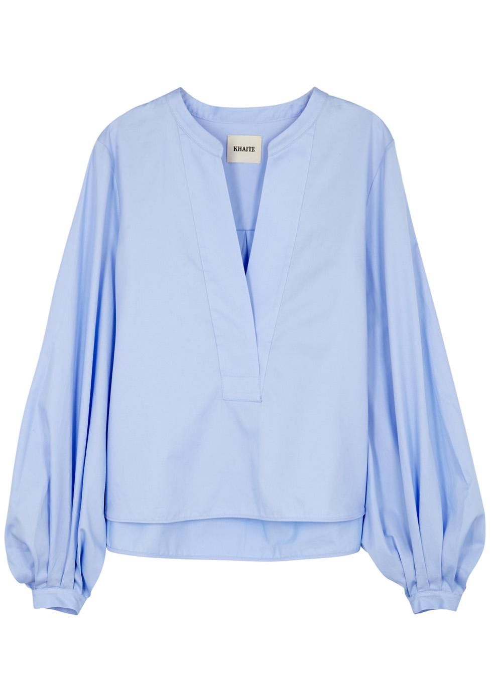 Suzanna Balloon-Sleeve Poplin Shirt, Light Blue
