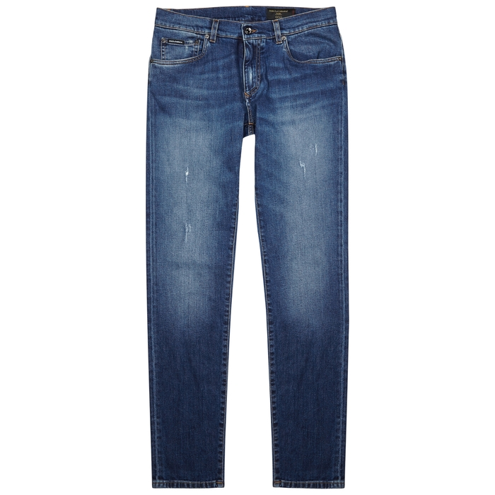 Dolce & Gabbana Blue Embroidered Skinny Jeans thumbnail