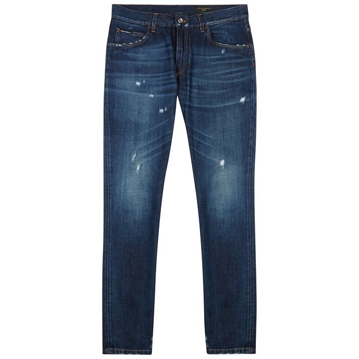 Dolce & Gabbana Dark Blue Distressed Slim-leg Jeans thumbnail