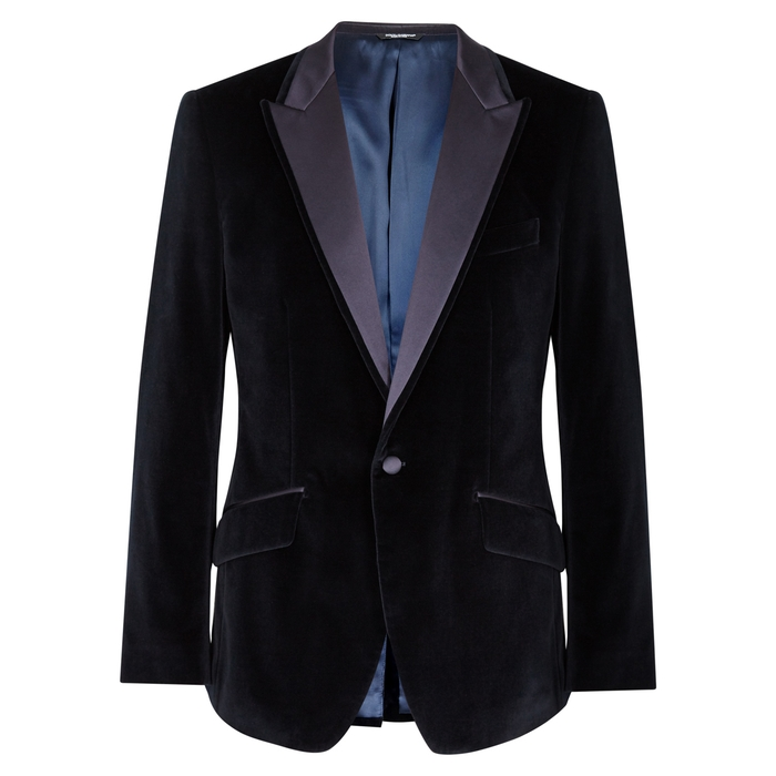 Dolce & Gabbana Martini-Fit Navy Velvet Jacket thumbnail