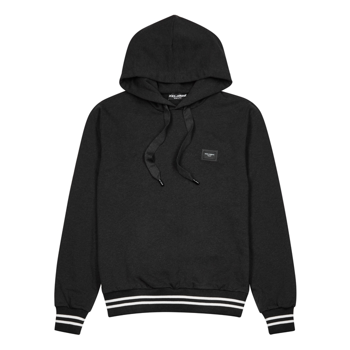 Dolce & Gabbana Charcoal Hooded Cotton Sweatshirt