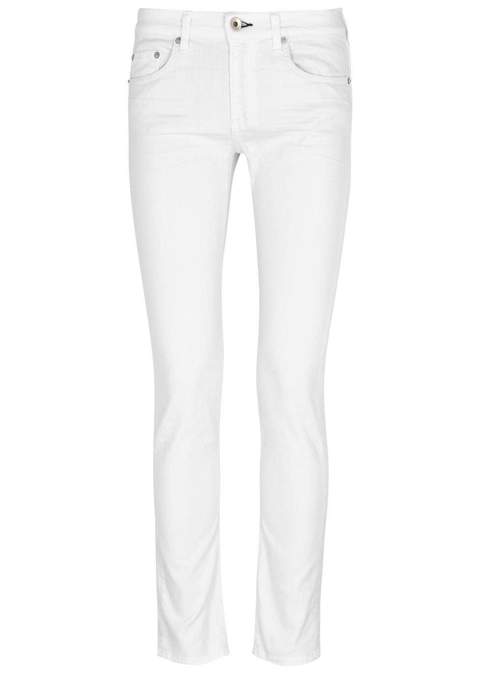 Dre white slim-boyfriend jeans