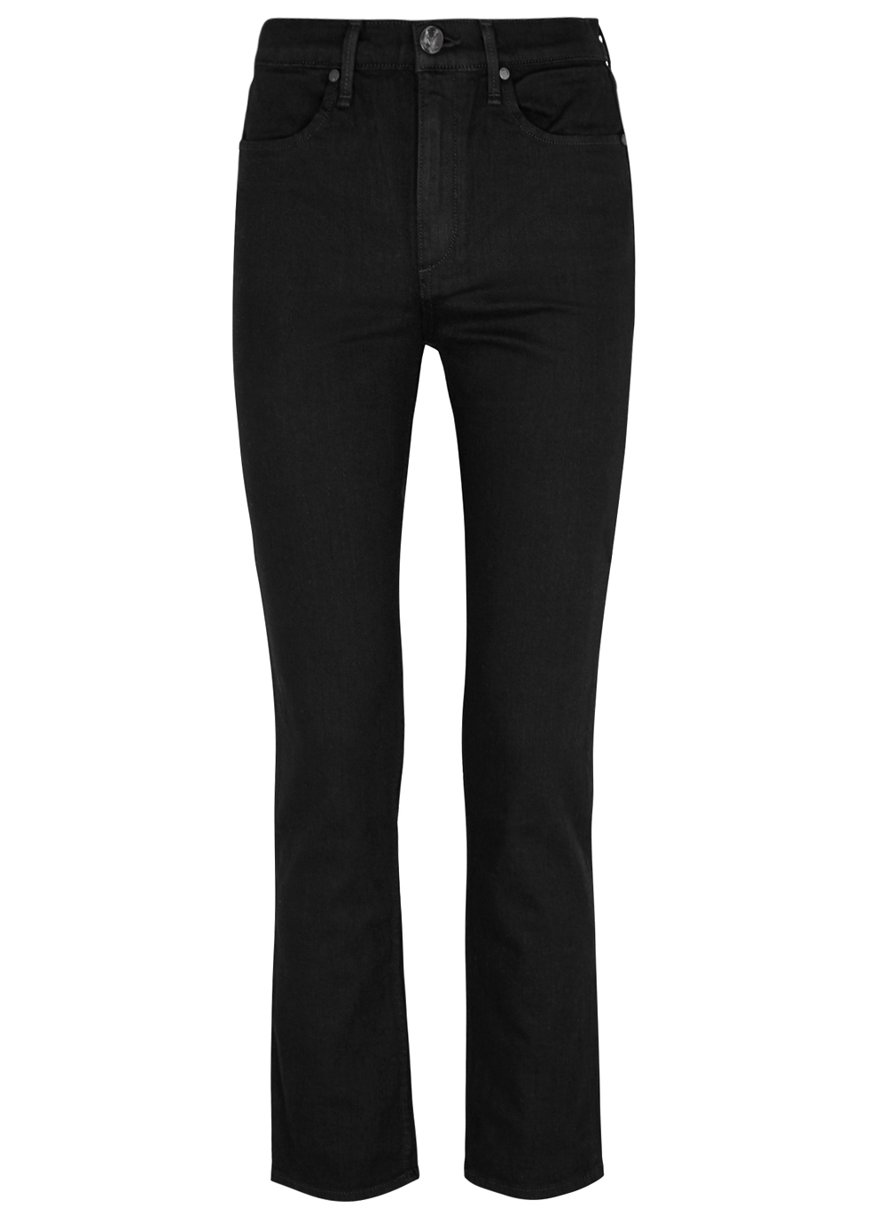 RAG & BONE | Rag & Bone Black High-Rise Straight-Leg Jeans | Goxip
