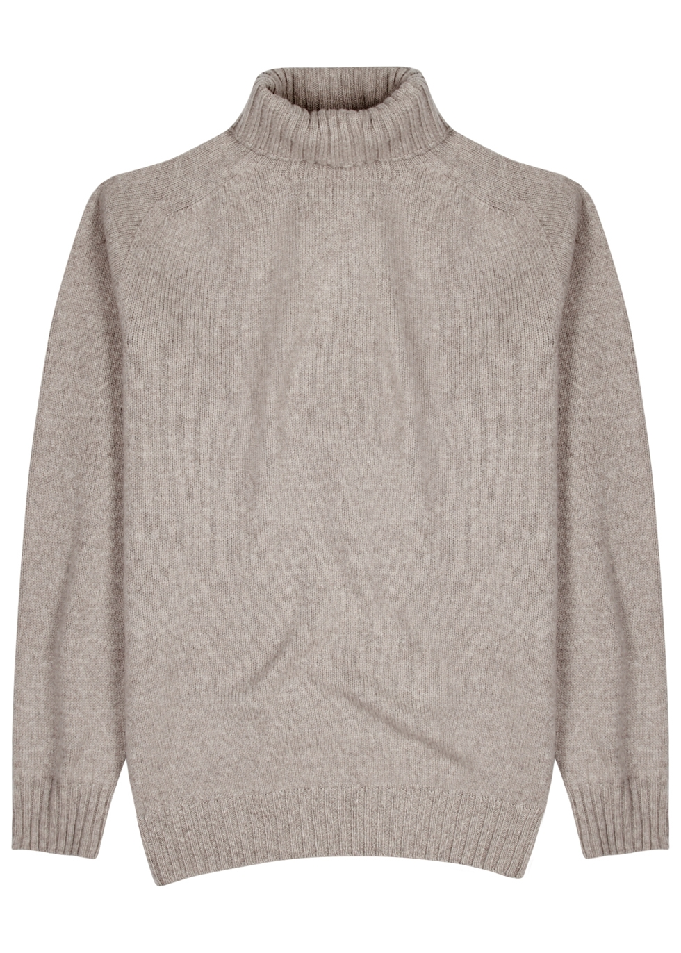 OFFICINE GENERALE TAUPE ROLL-NECK WOOL JUMPER