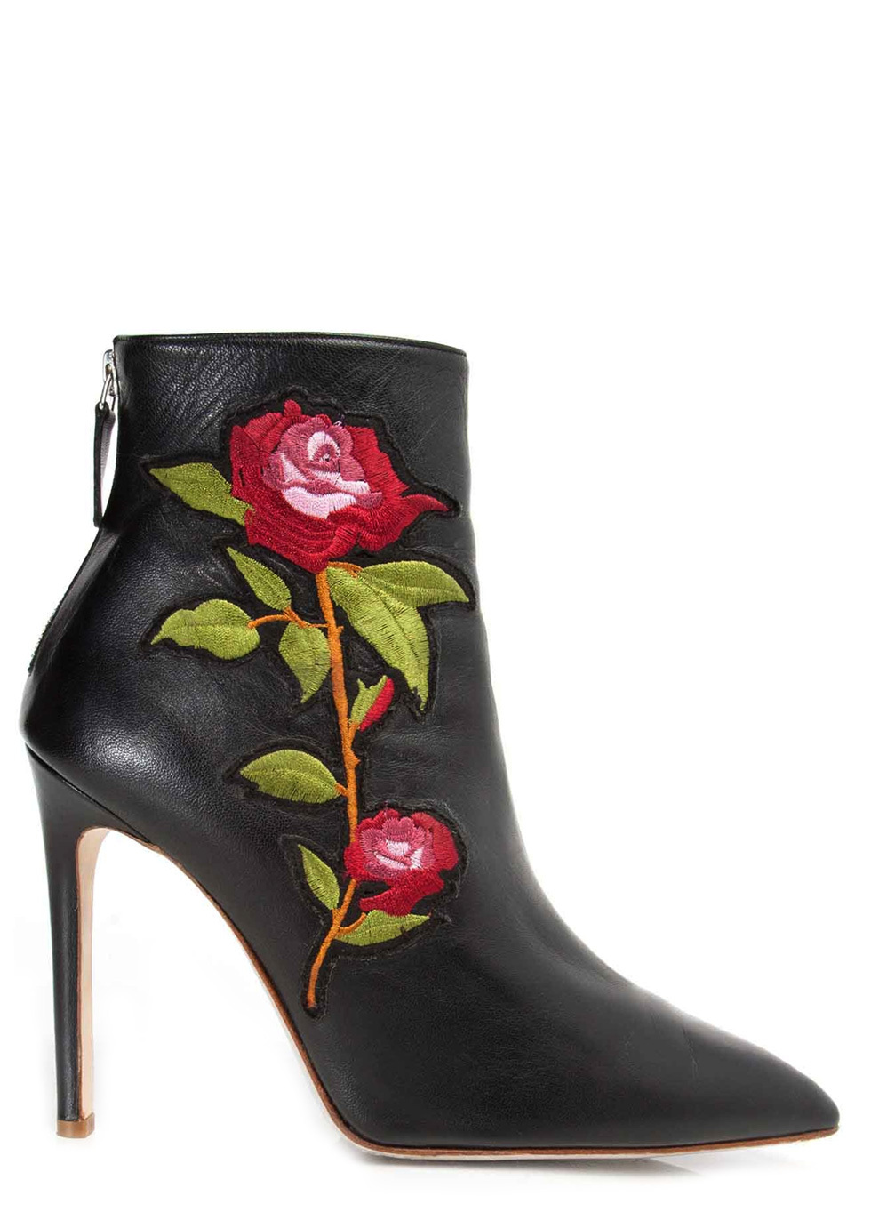 India Black Nappa Embroidery Ankle Boots
