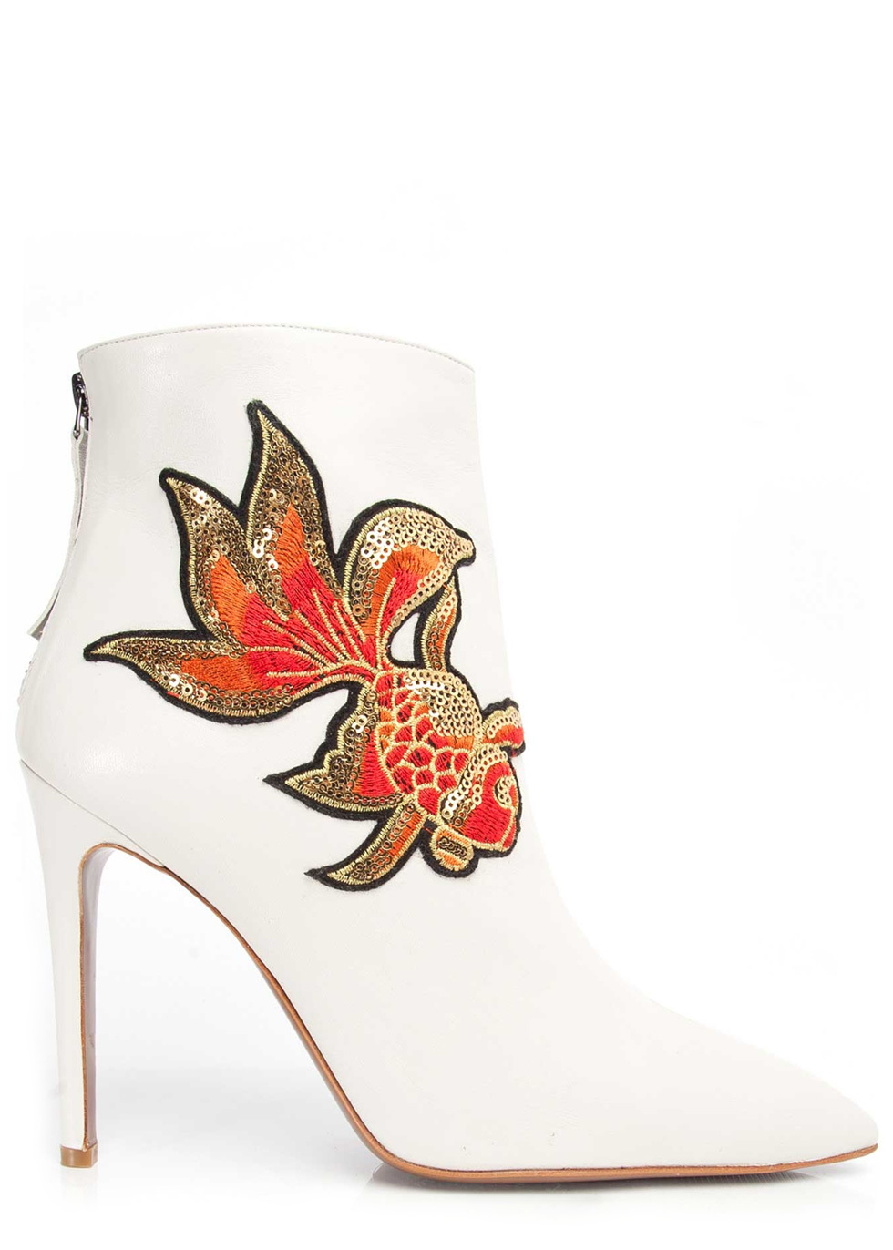 Izzy White Nappa Embroidery Ankle Boots