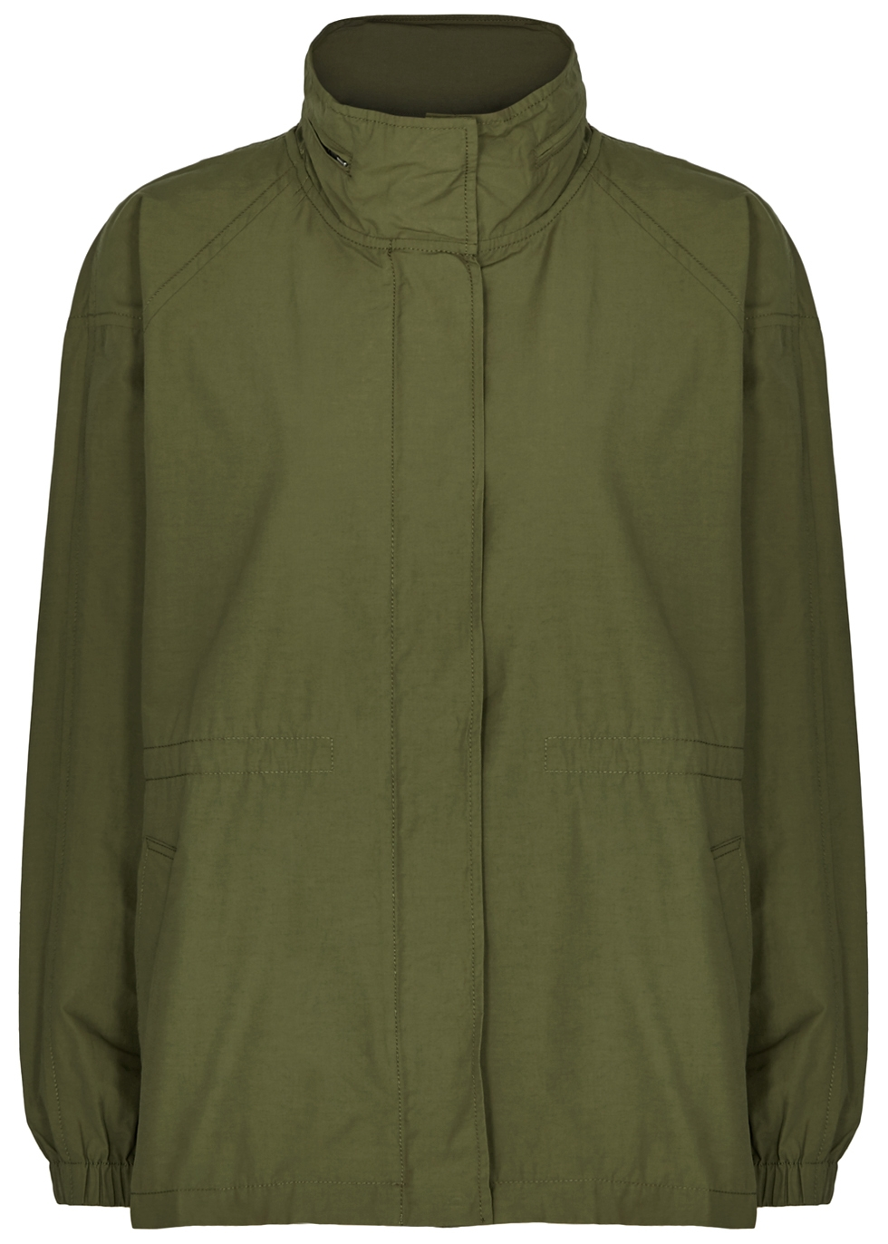 OLIVE HOODED SHELL JACKET