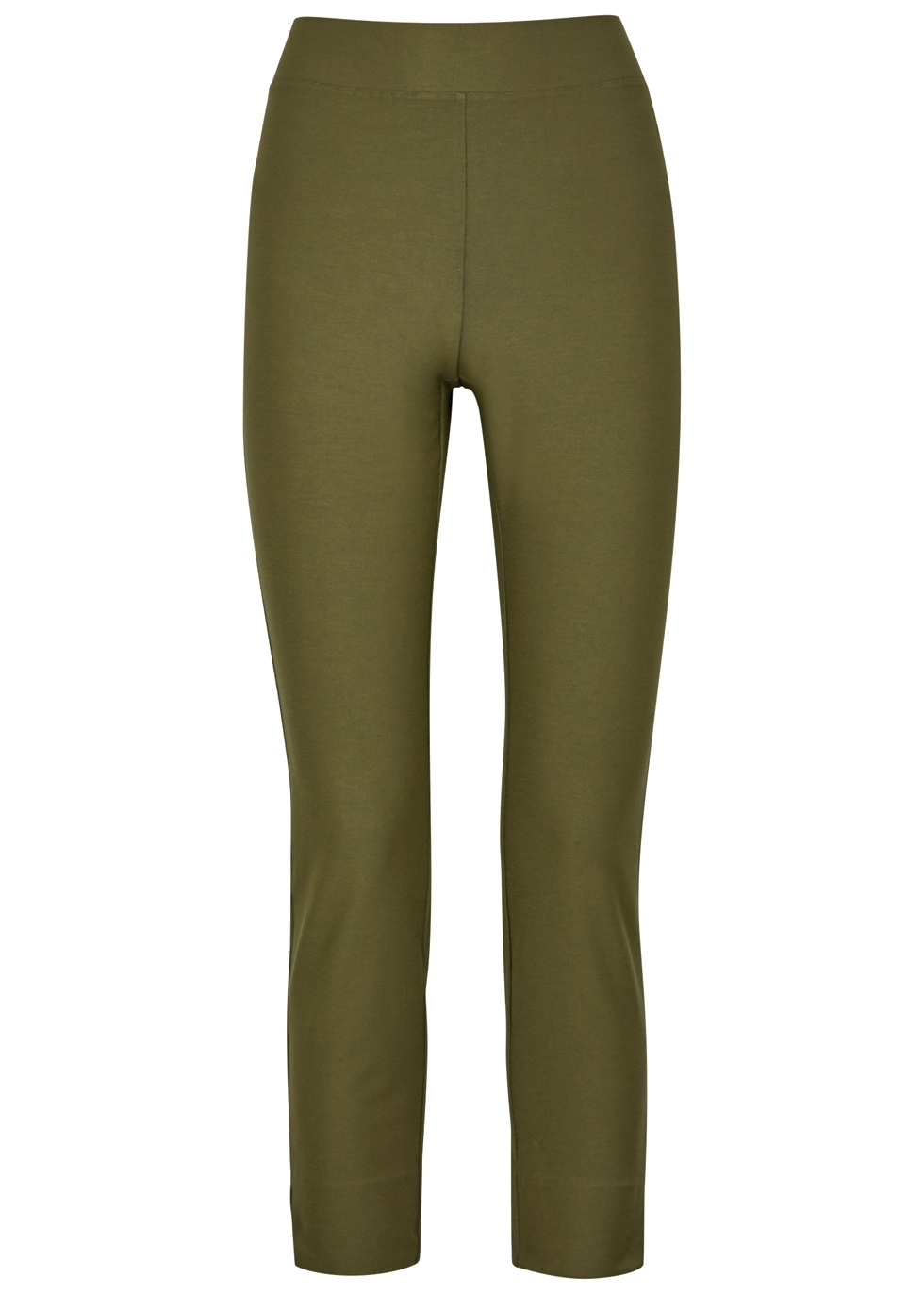 OLIVE CROPPED SKINNY TROUSERS
