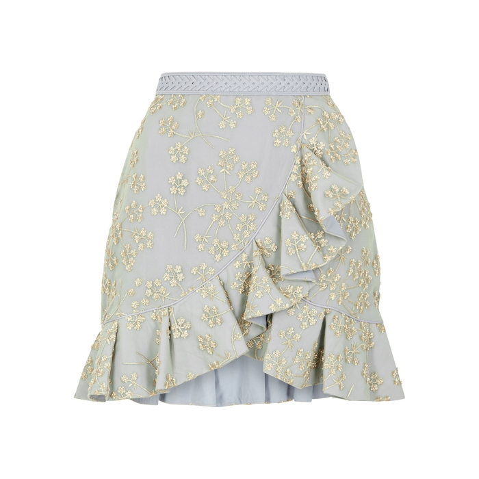 ca00f46d75 SELF-PORTRAIT FLORAL-EMBROIDERED TULLE MINI SKIRT | ModeSens