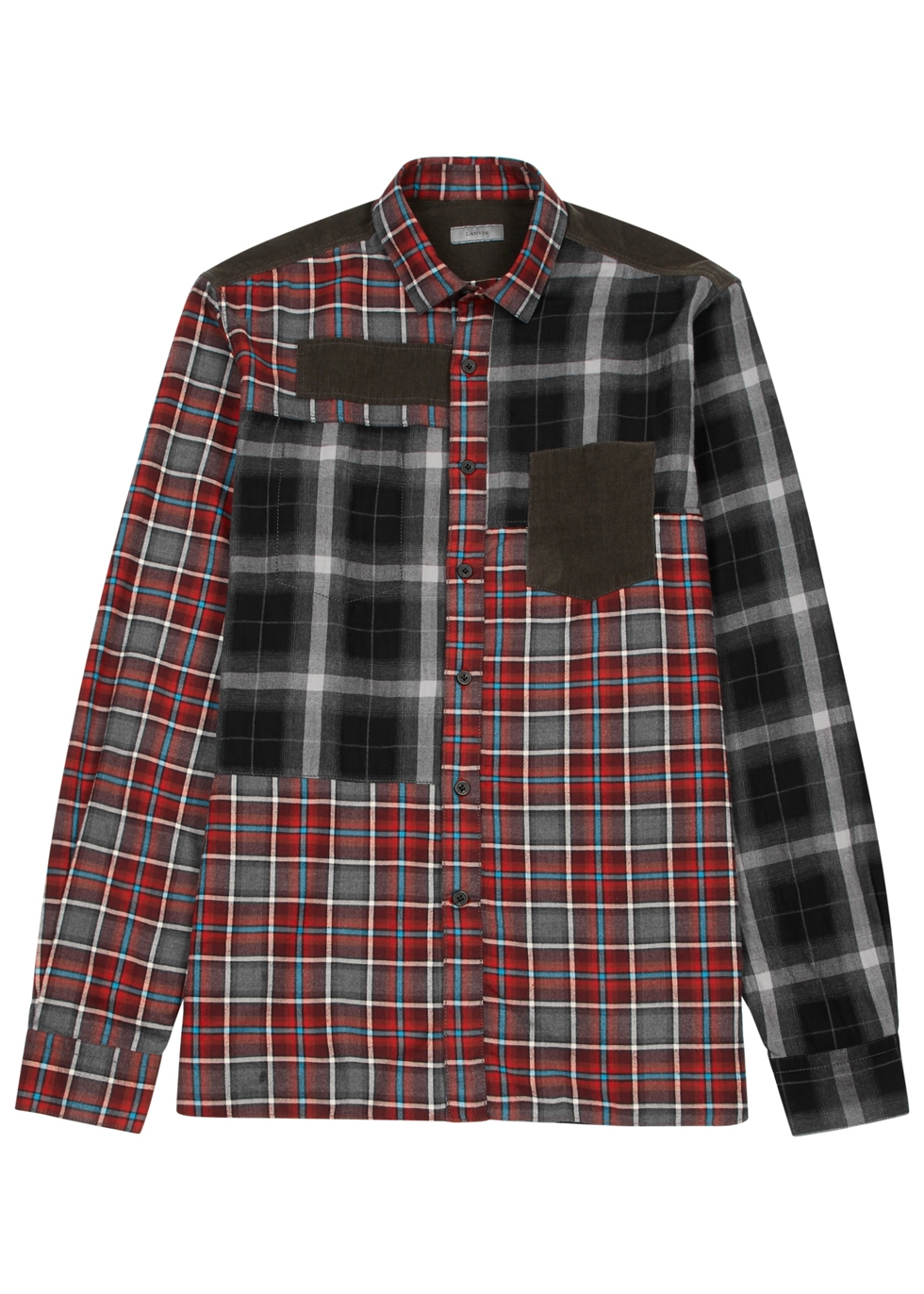 Lanvin Camisa a algodón de cuadros paneles con rojo en qprpan4Fxw