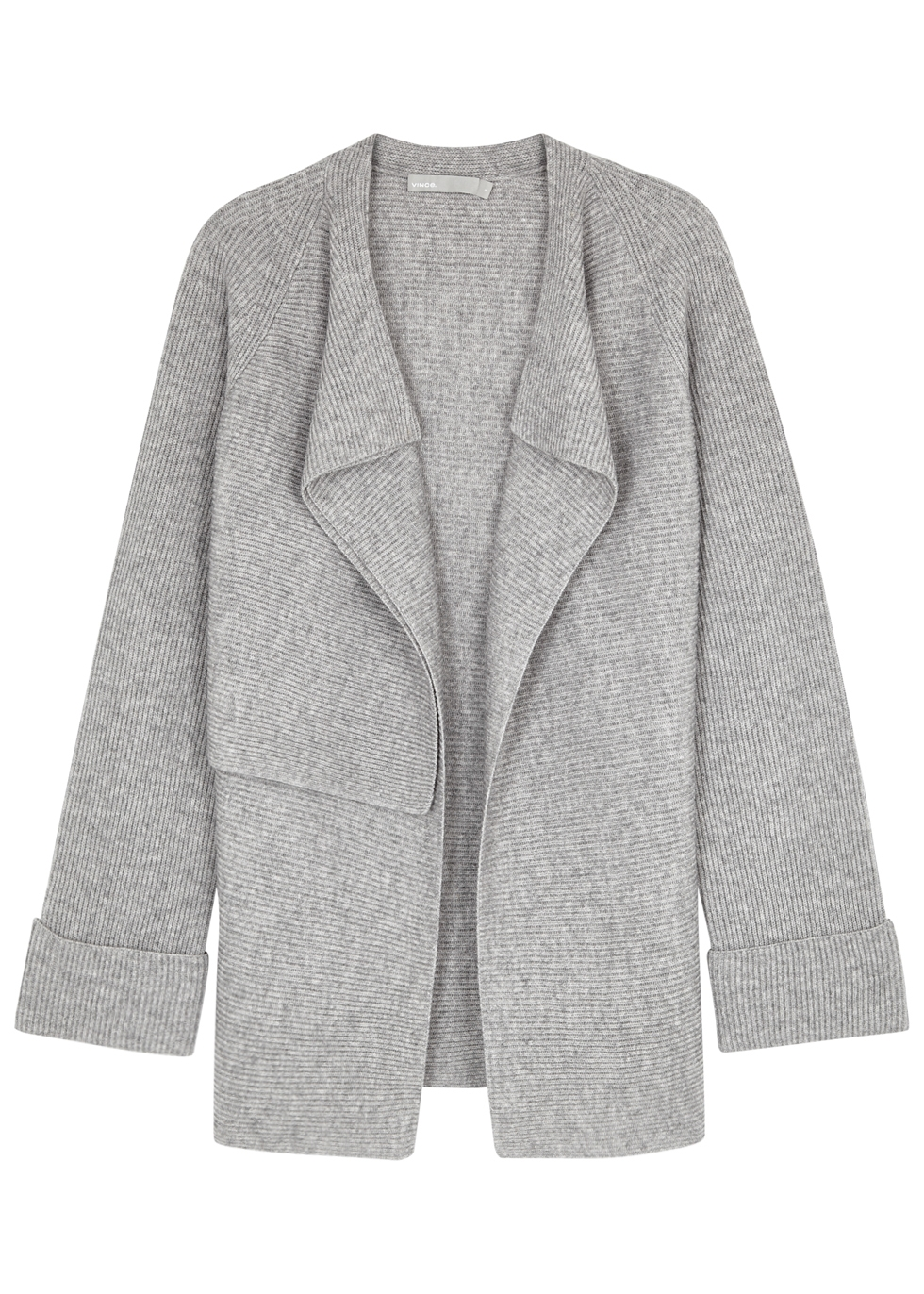 GREY WOOL AND CASHMERE-BLEND CARDIGAN