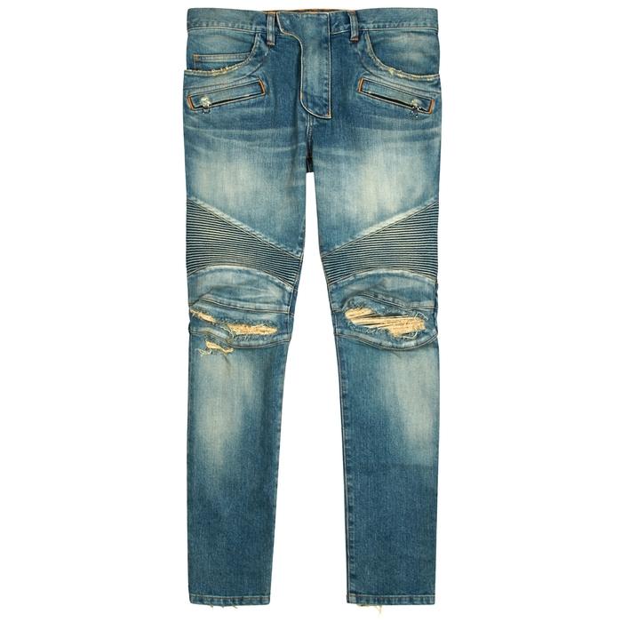 Balmain Blue Distressed Skinny Biker Jeans
