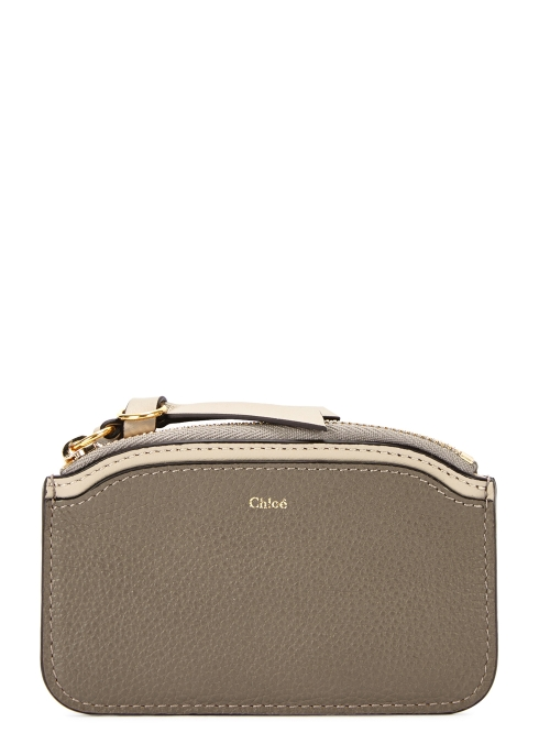 easy light taupe grained leather card holder chlo - Chloe Card Holder