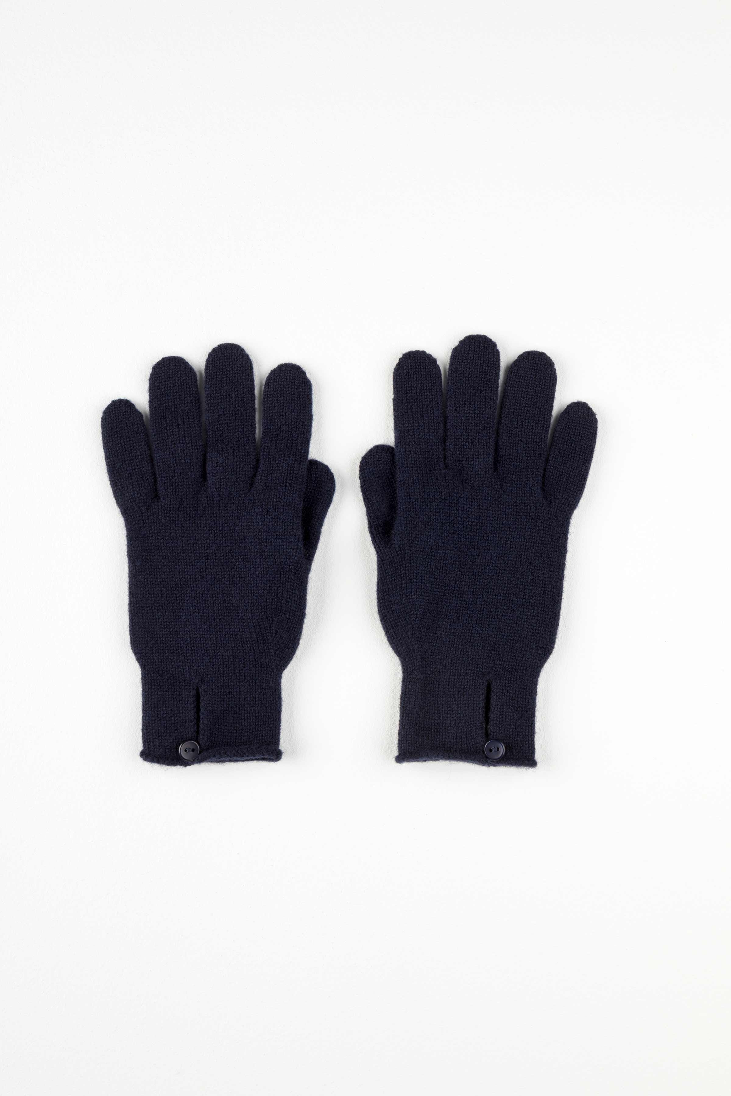 JOHNSTONS OF ELGIN NAVY BUTTON LOOP WOMENS CASHMERE GLOVES