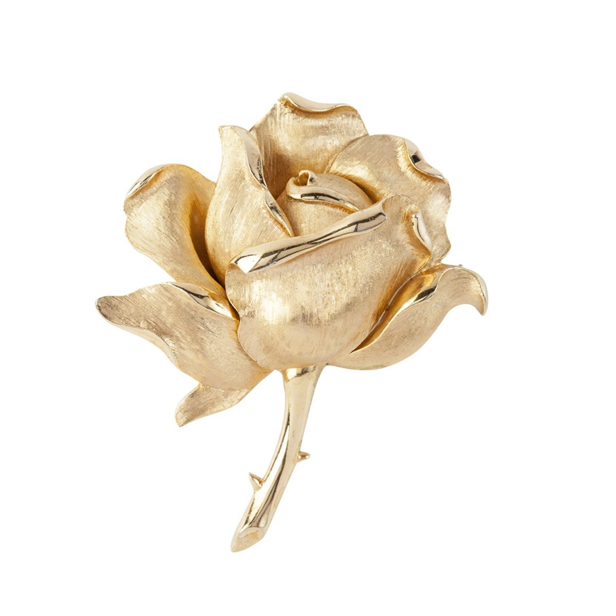 SUSAN CAPLAN VINTAGE 1960S VINTAGE TRIFARI GOLD ROSE BROOCH