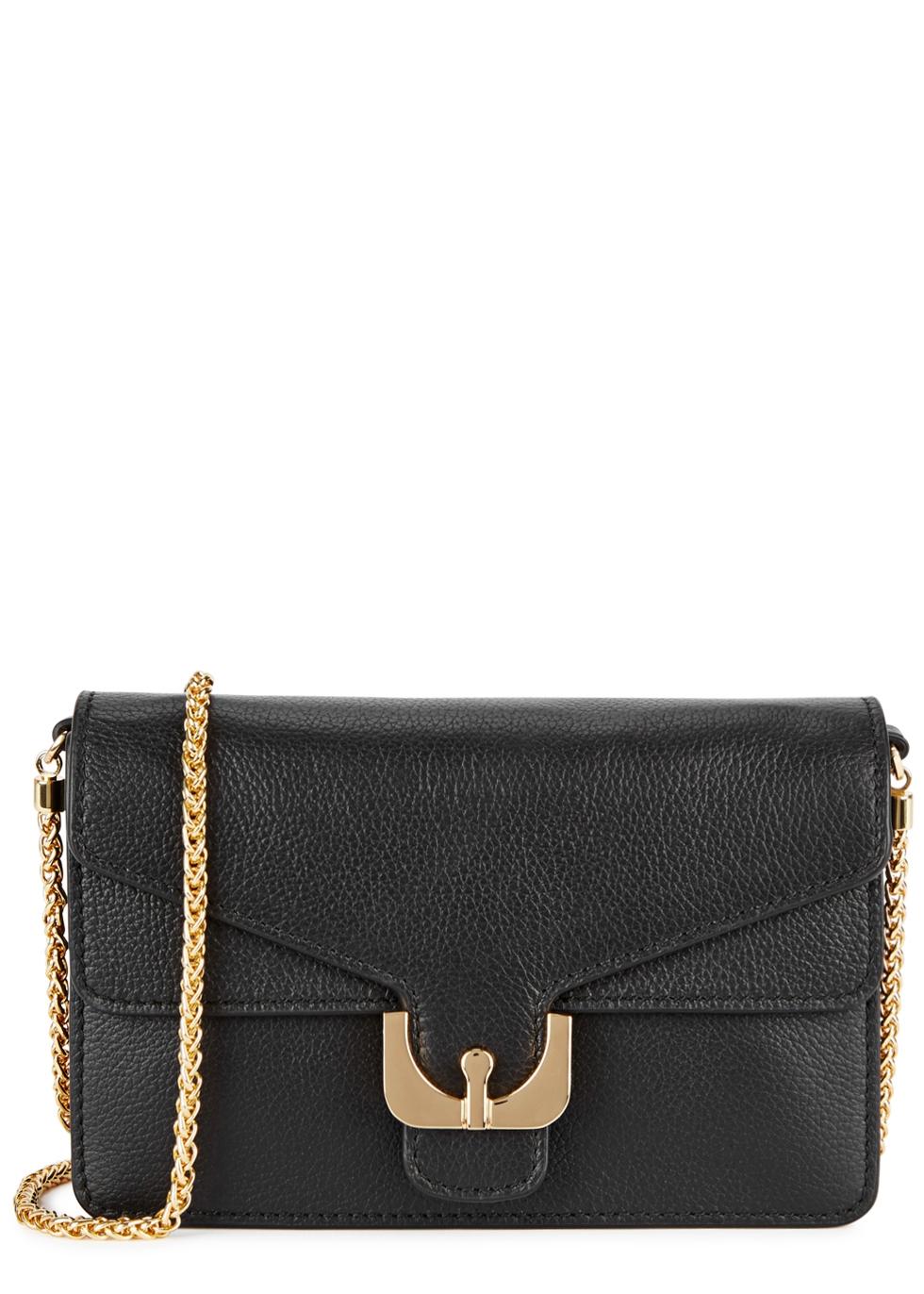 Ambrine Grained Leather Shoulder Bag, Black