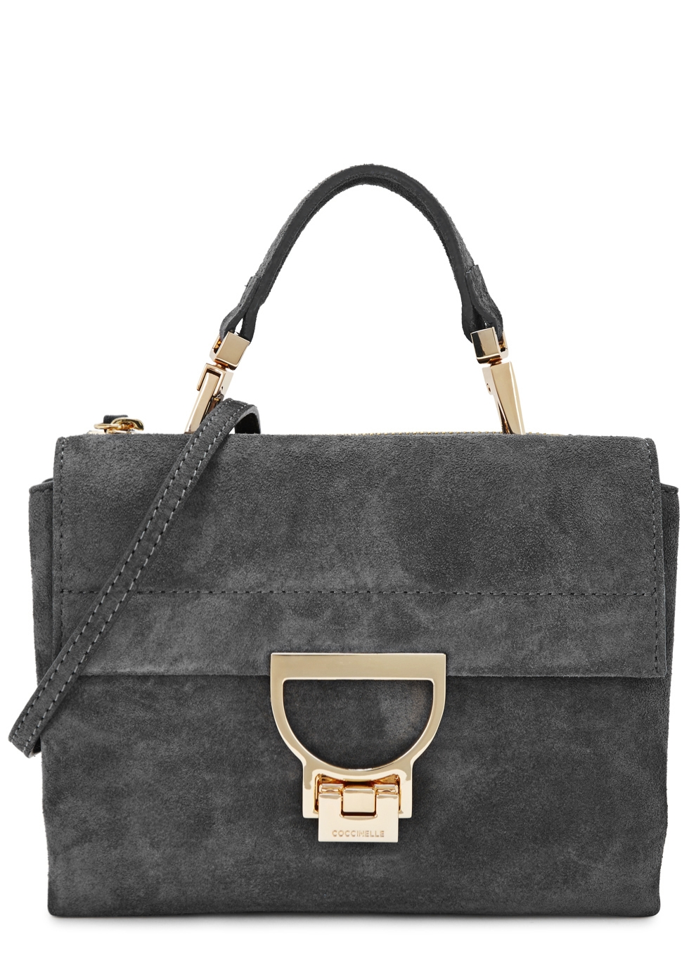 COCCINELLE ARLETTIS GREY SUEDE CROSS-BODY BAG