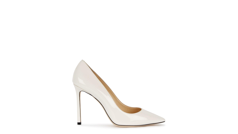 6667e4d55d1 Jimmy Choo Romy 100 white patent leather pumps - Harvey Nichols