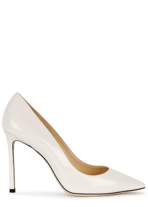 e2ae0ef5e5e Jimmy Choo Romy 100 white patent leather pumps - Harvey Nichols