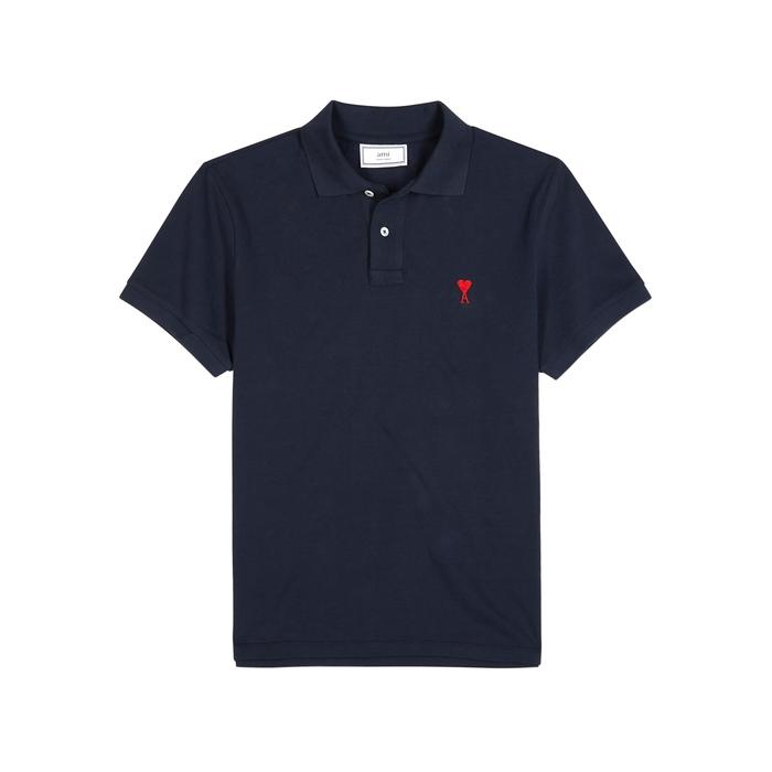 AMI Navy Piqué Cotton Polo Shirt