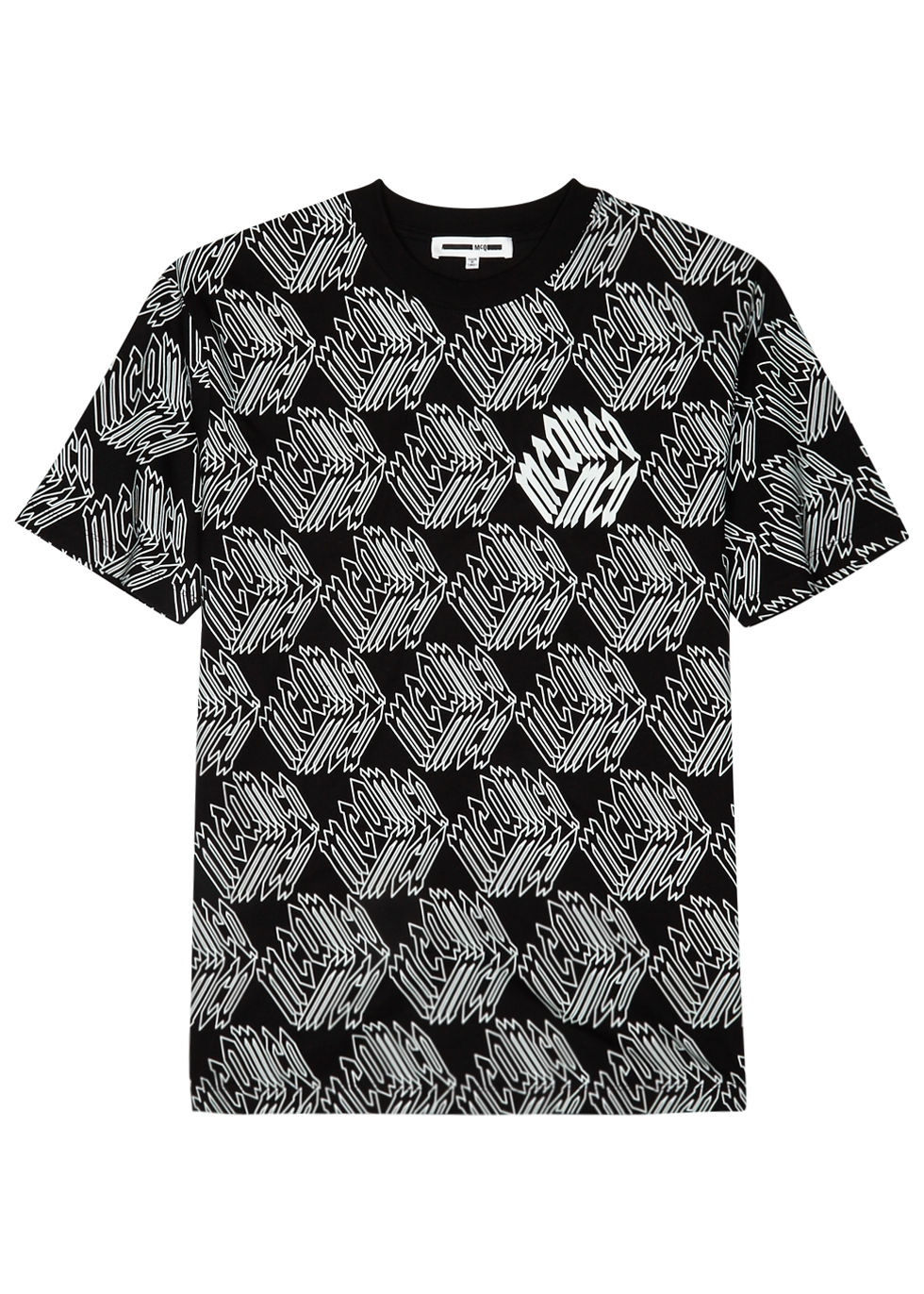 MCQ BY ALEXANDER MCQUEEN Black & White Long Sleeve All Over Mcq Cube T-Shirt