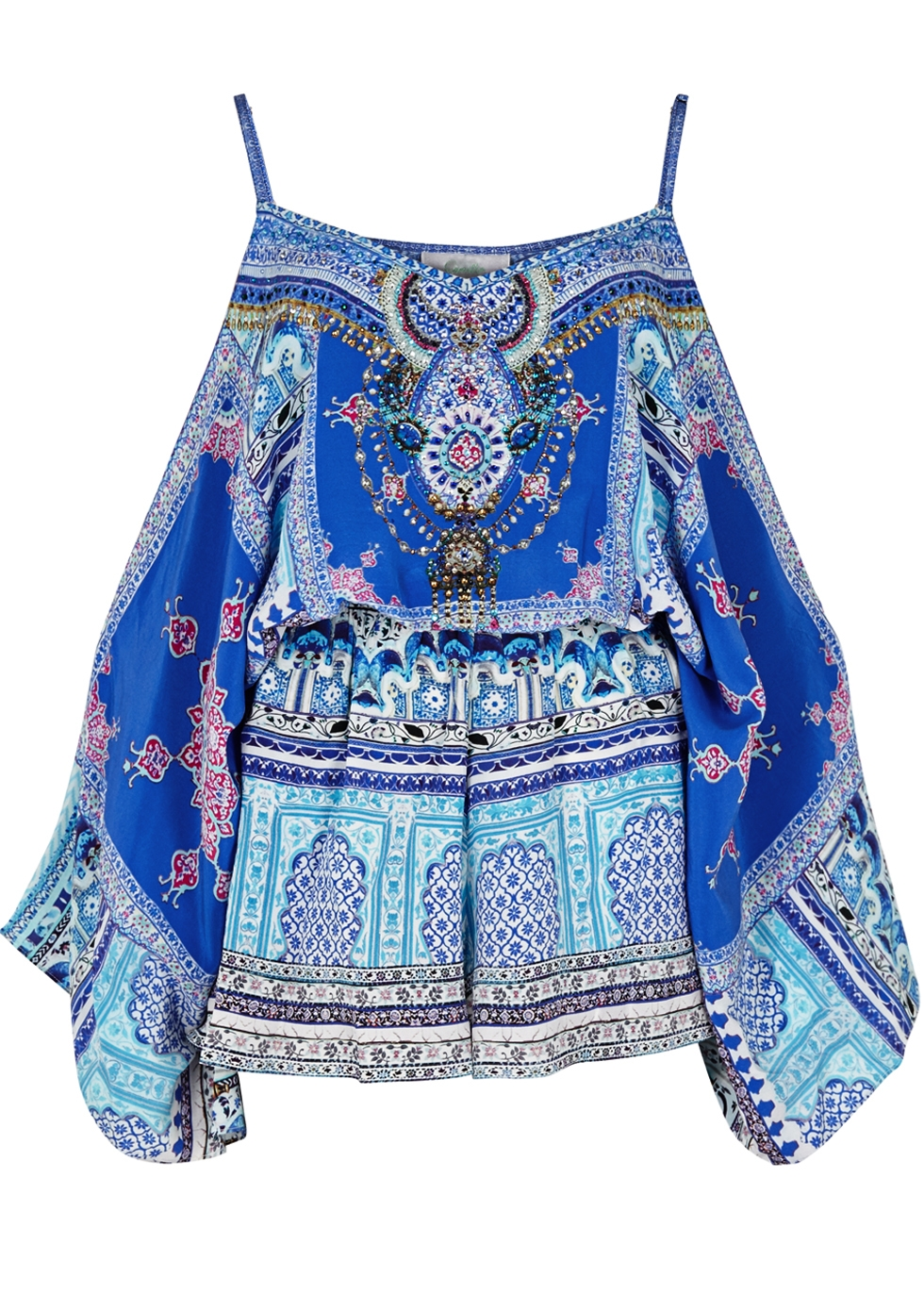 CAMILLA STRENGTH IN RAYS PRINTED SILK PLAYSUIT