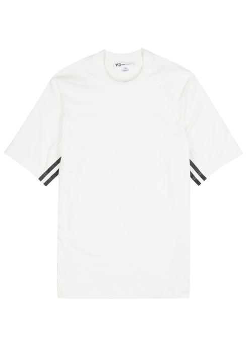 Y-3 Stripes white jersey T-shirt - Harvey Nichols 80b90b5ff2e58