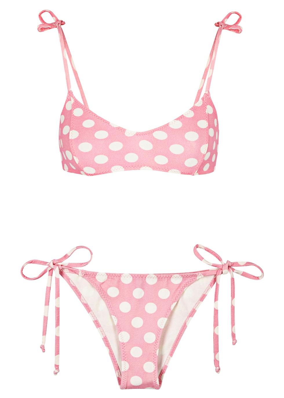 Nicole Polka-Dot Crepe Bikini, 3, Pink