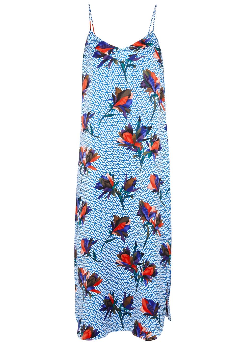 DIAN BLUE PRINTED SILK DRESS