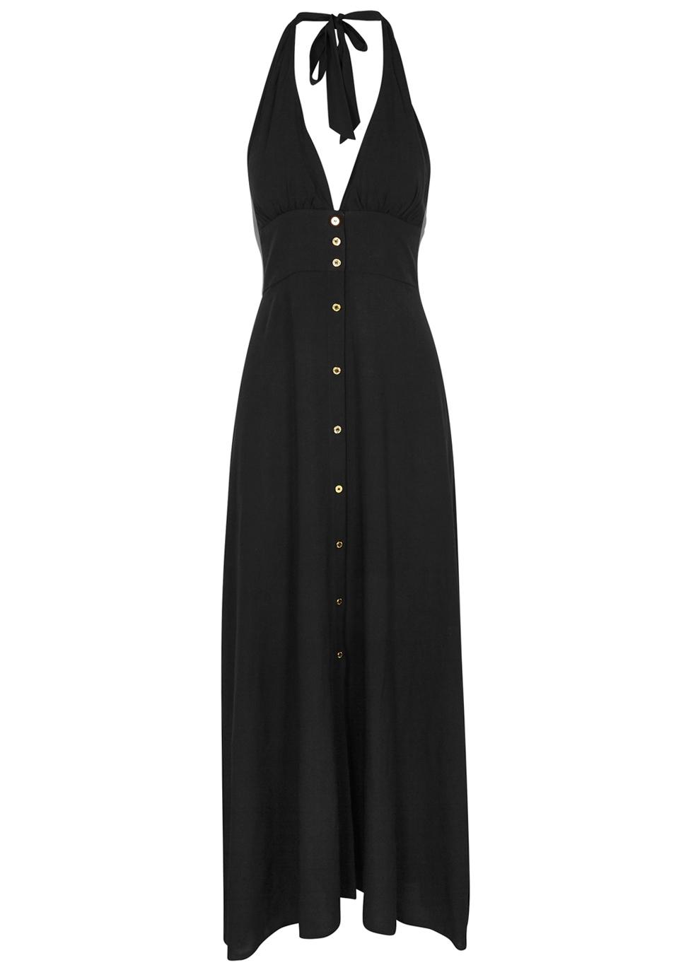 HEIDI KLEIN OMAN BLACK HALTERNECK MAXI DRESS