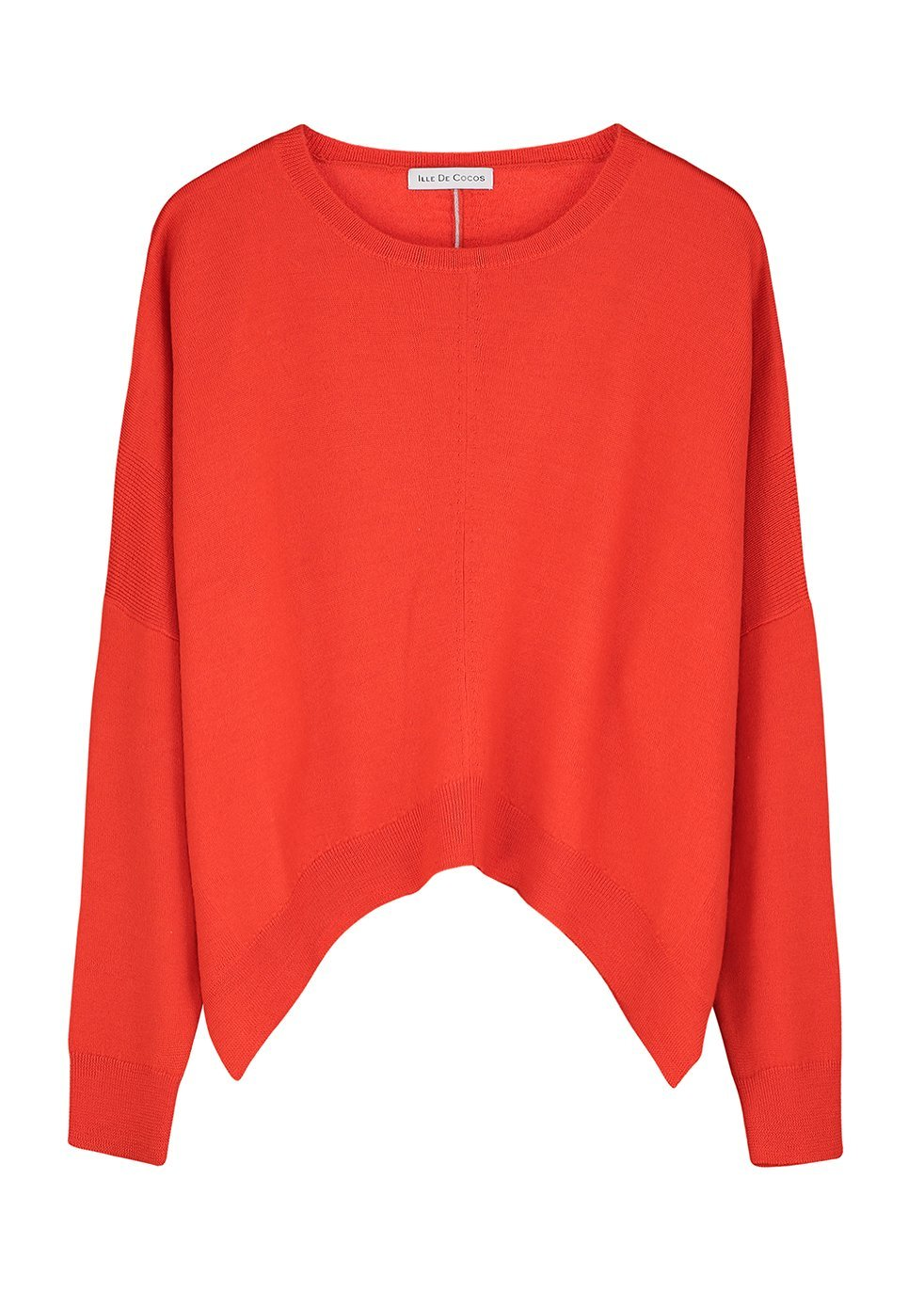 ILLE DE COCOS MERINO CROPPED SWEATER - RED- ROSE