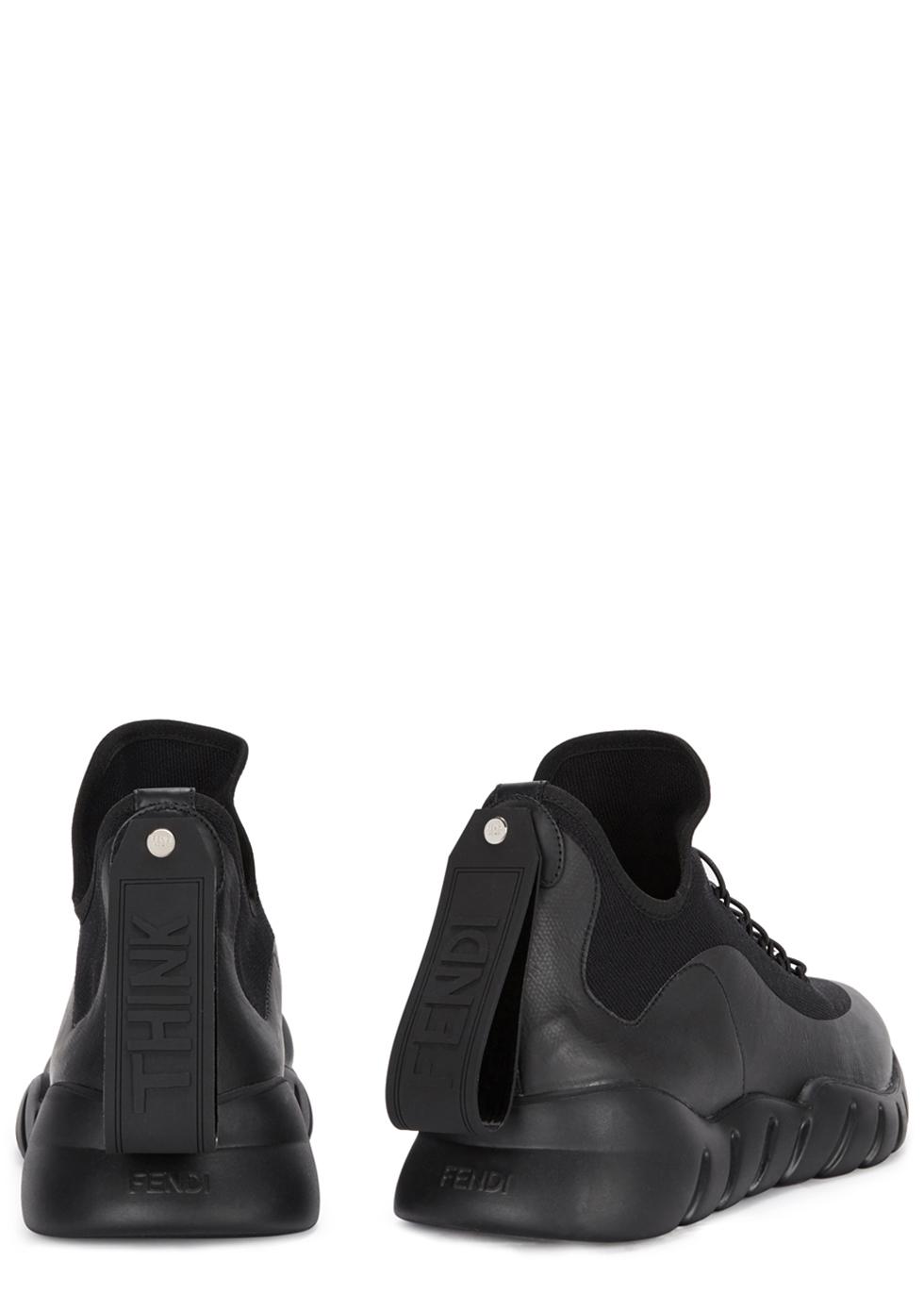 Black stretch-knit hi-top trainers - Fendi