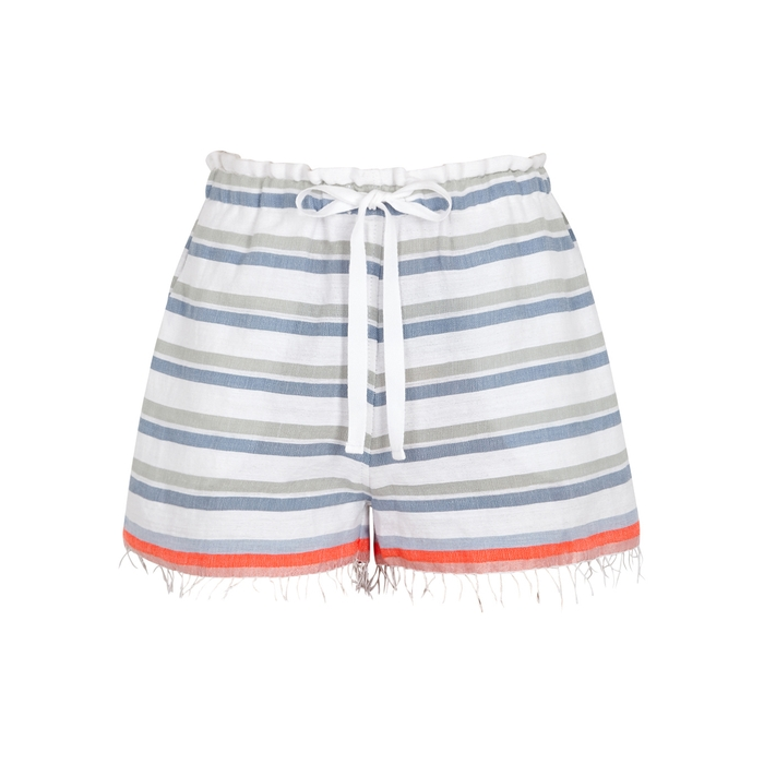 Lemlem ASHA STRIPED COTTON-BLEND SHORTS