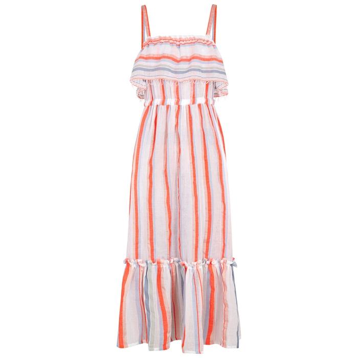 Lemlem ASHA STRIPED COTTON-BLEND MAXI DRESS