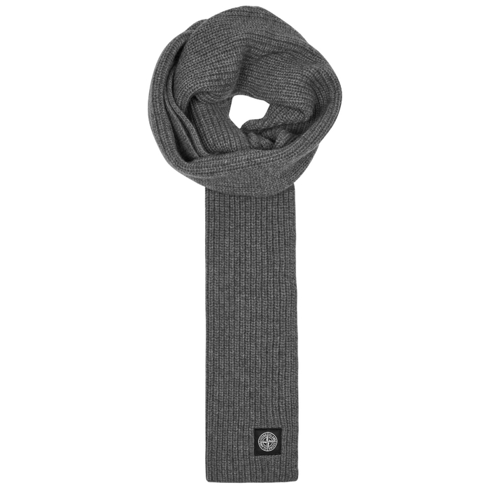 Stone Island Dark Grey Ribbed Wool Scarf