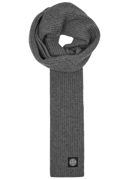 aad60a56d Stone Island Dark grey ribbed wool scarf - Harvey Nichols