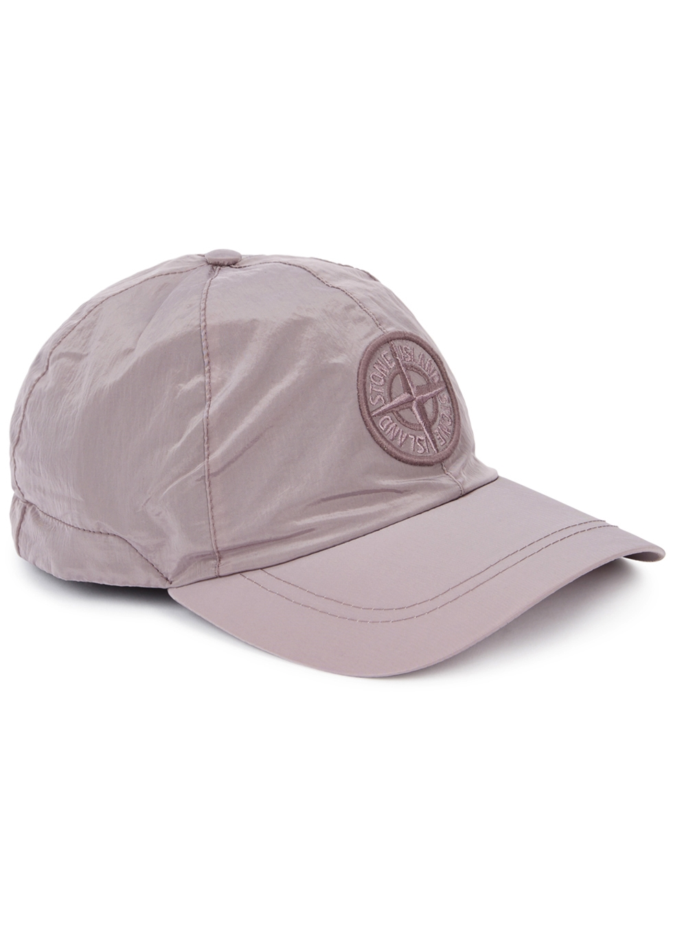 STONE ISLAND Mauve Embroidered Shell Cap in Pink