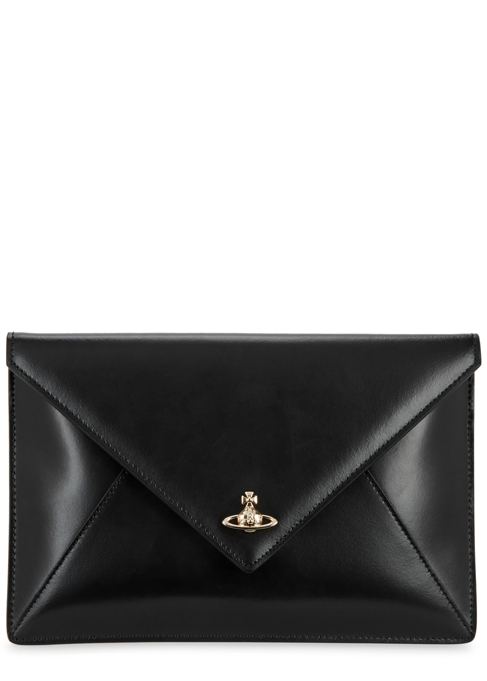 PRIVATE BLACK LEATHER ENVELOPE CLUTCH