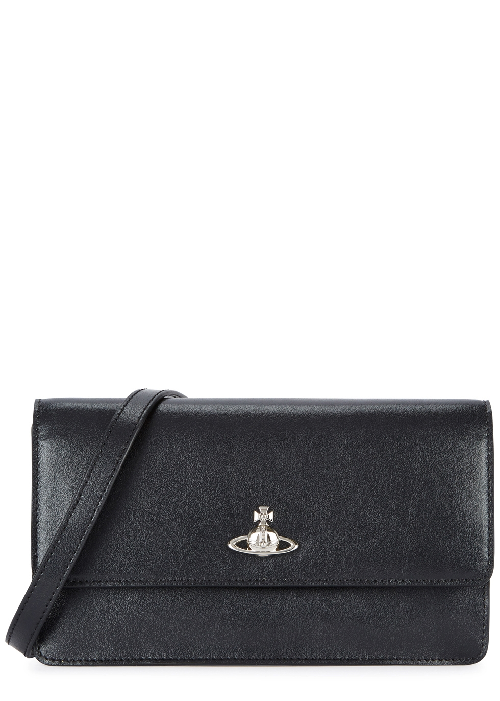 VIVIENNE WESTWOOD MATILDA BLACK LEATHER CLUTCH