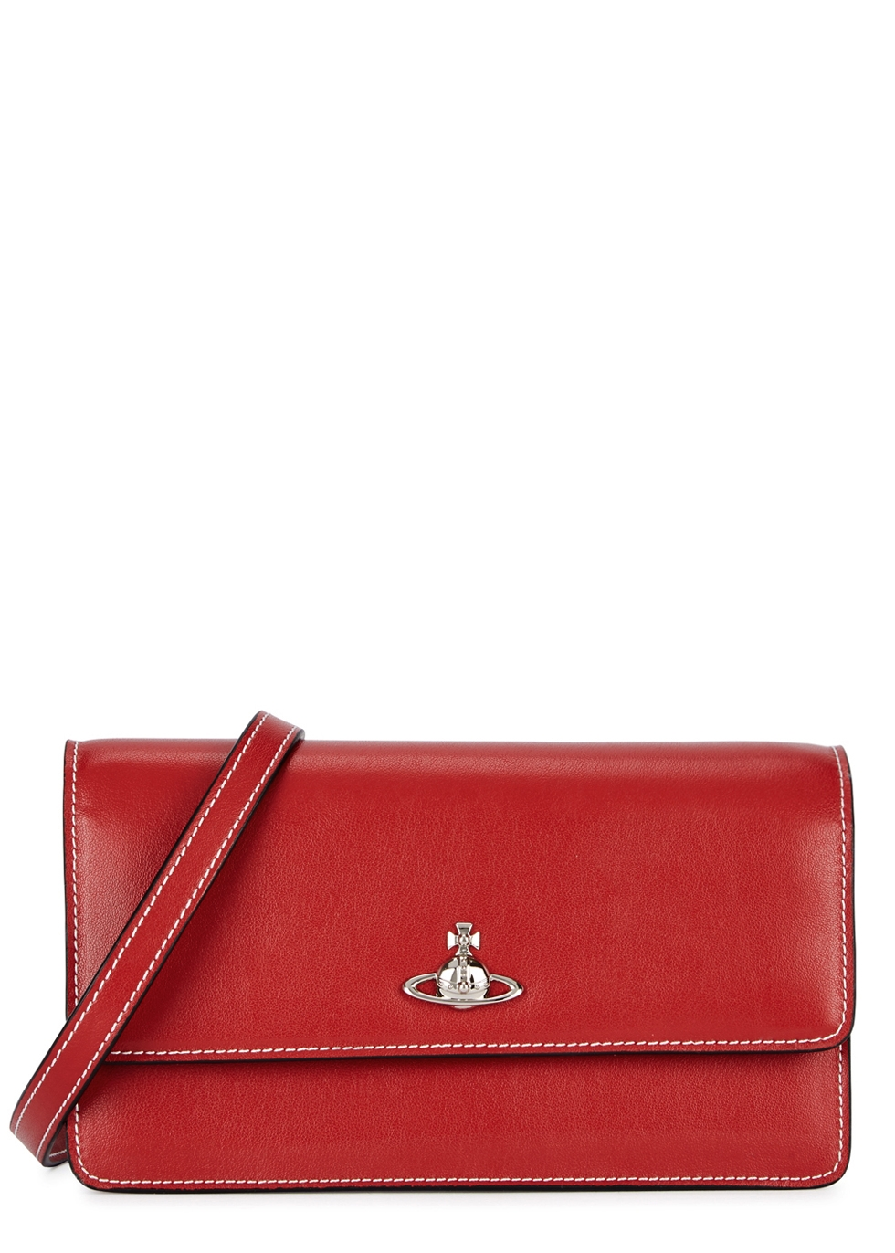 VIVIENNE WESTWOOD MATILDA RED LEATHER CLUTCH