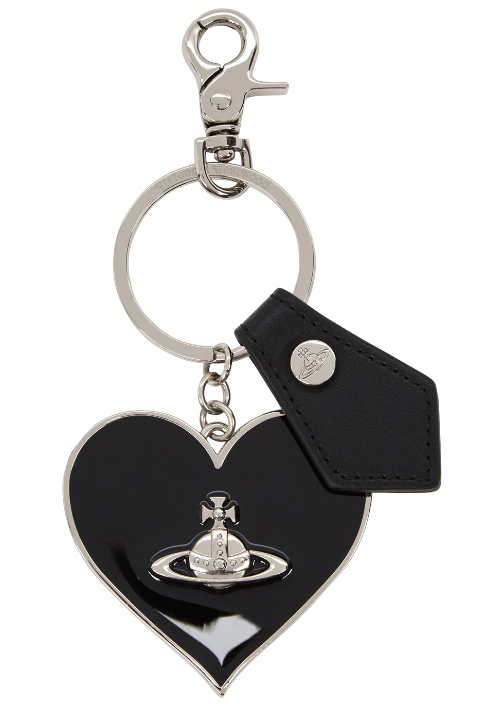BLACK ENAMELLED HEART KEYRING