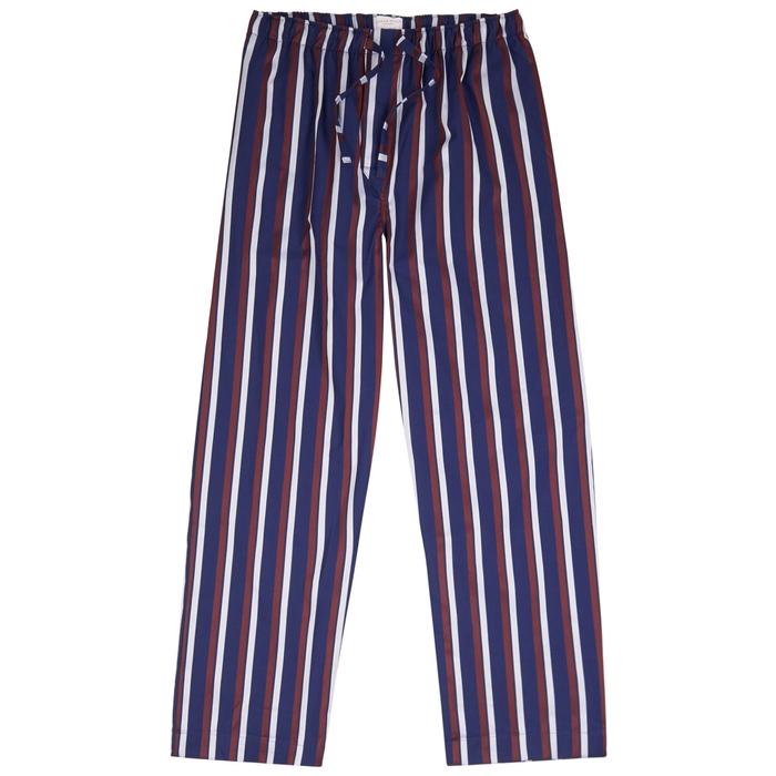 Derek Rose Navy Striped Cotton Pyjama Trousers