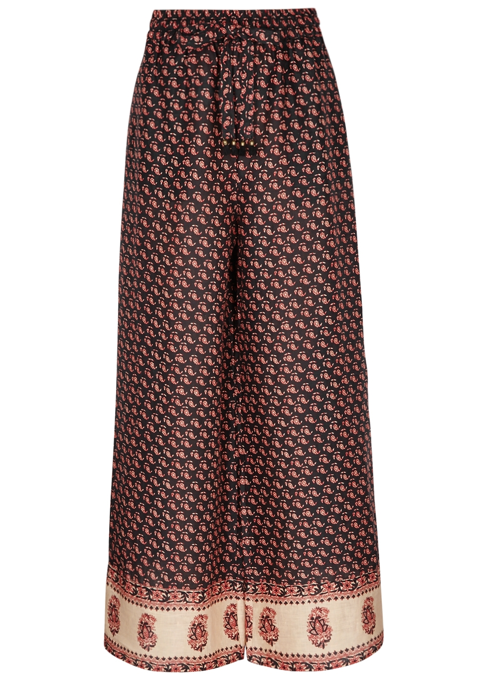Jaya Printed Wide-Leg Linen Trousers, Brown