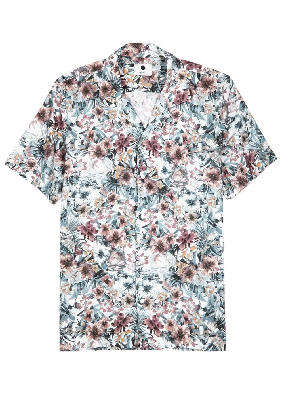 NN07 Miyagi Camp-Collar Printed Cotton Shirt - Gray in Multicoloured