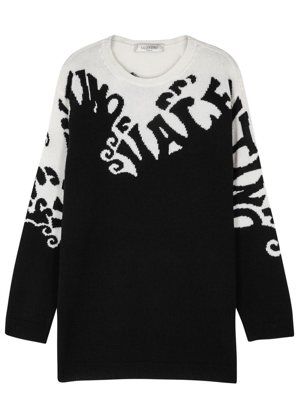 Logo Intarsia Cashmere Knit Sweater, Black And White