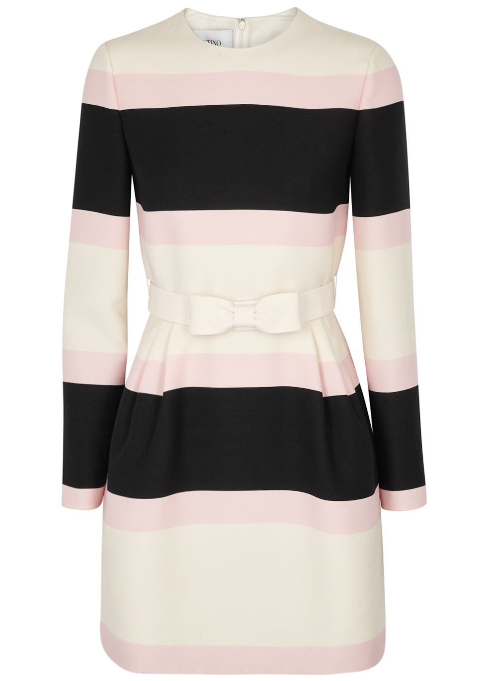 VALENTINO Striped Wool And Silk-Blend Dress, Multicoloured