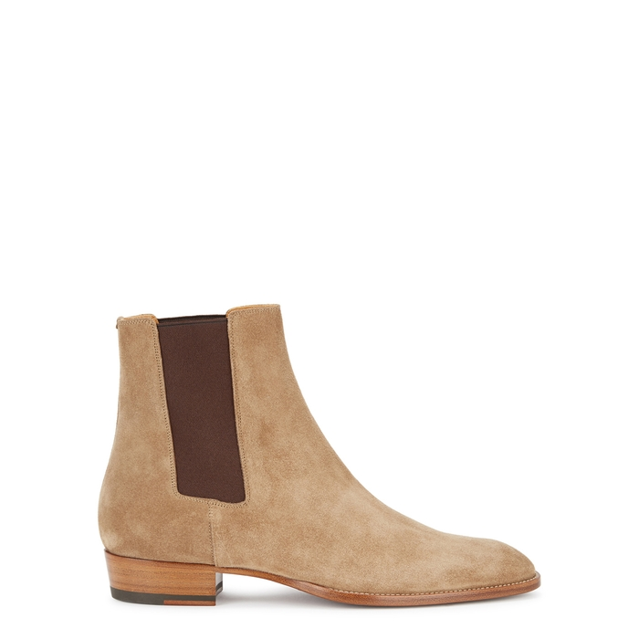 Saint Laurent Light Brown Suede Chelsea Boots