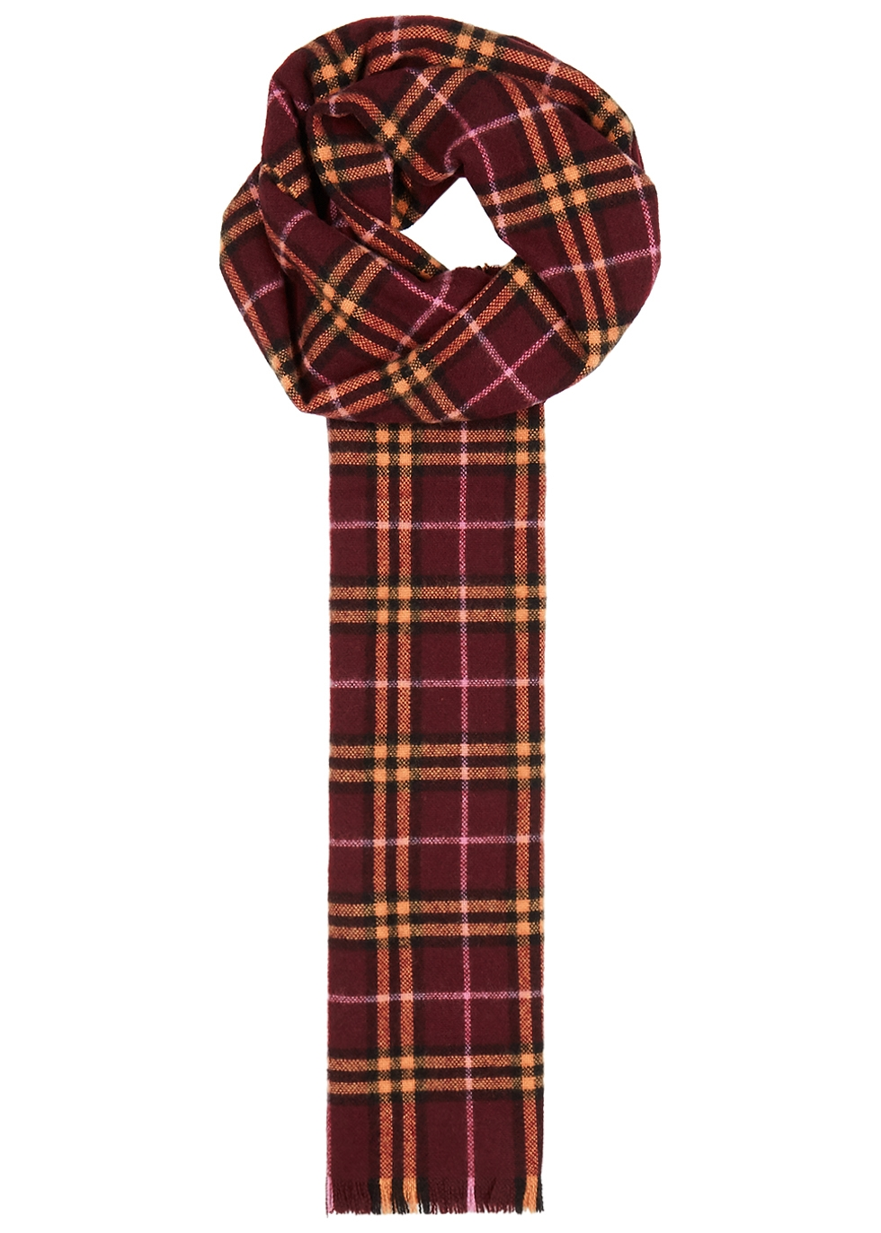 BURBERRY RED CHECKED CASHMERE SCARF